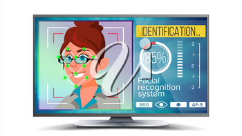 Face Recognition, Identification System Vector. Face Recognition Technology. Woman Face On Screen. Human Face With Polygons And Points. Scanning Illustration