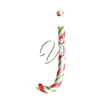 Letter J Vector. 3D Realistic Candy Cane Alphabet Symbol In Christmas Colours. New Year Letter Textured With Red, White. Typography Template. Striped Craft Isolated Object. Xmas Art