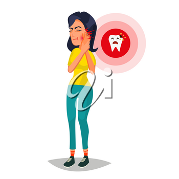 Woman With Toothache Vector. Sad Unhappy Girl. Feel Aching Bad Tooth. Sorrowful Man Having A Strong Toothache. Isolated Flat Cartoon Character Illustration
