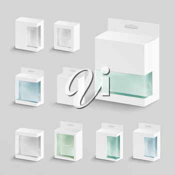 White Blank Cardboard Rectangle Vector. Realistic White Package Box.