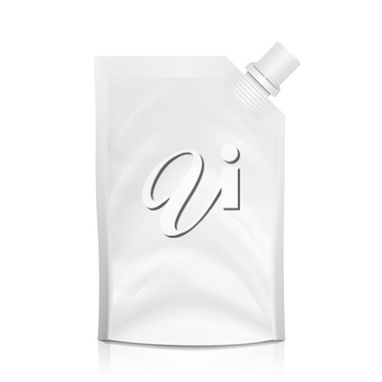 Doy-pack Blank Vector. White Clean Doypack Bag Packaging With Corner Spout Lid. Plastic Spouted Pouch