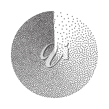 Abstract Geometric Shape Vector. Black Dotted Round Circle. Film Grain, Noise, Grunge Texture. Halftone Background. Vintage Dotwork