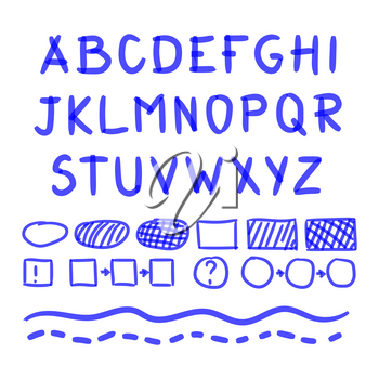 Marker Hand Written Doodle Letters, Mathematical Symbols Vector