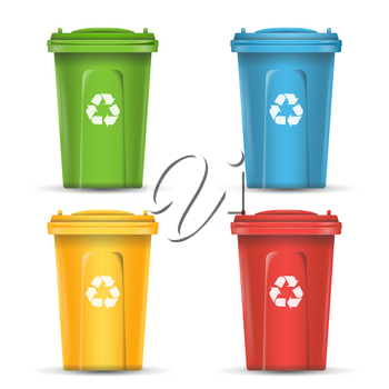 Colorful Recycle Trash Bins Vector. Set Of Realistic Red, Green, Blue, Yellow Container Buckets. Isolated On White Background