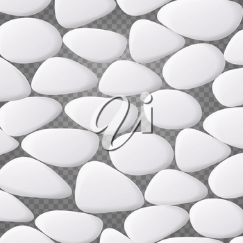 White Pebble Vector. Natural Realistic 3d Stones Of Different Shapes. Sea Rock Pebbles On Transparent Background
