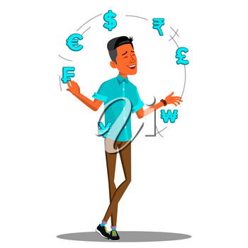Currency Exchange, Manager Juggles Currency Signs Vector. Illustration
