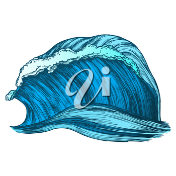 Rushing Wind Tropical Ocean Marine Wave Vector. Great Standing Marine Purl Storm Tidal Stream Surf Water. Motion Nature Aquatic Tsunami Power Color Illustration