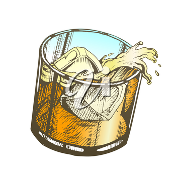 Color Glass With Lemonade And Ice Cubes Vector. Hand Drawn Smooth Glass With Cool Healthy Summer Beverage. Cup Non-alcoholic Drink With Drop And Splash Illustration