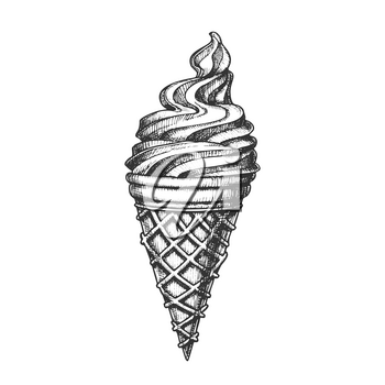 Ice Cream In Waffle Cornet Snow Cone Ink Vector. Whipped Milk Cold Gelato Sweet Dessert Ice Cream Concept. Refreshing Natural Dairy Tasty Snack Designed Template Black And White Illustration