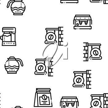 Coffee Energy Drink Seamless Pattern Vector Thin Line. Illustrations