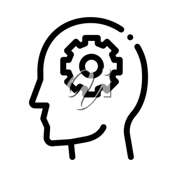 Gear Cogwheel Mechanism In Silhouette Mind Vector Icon Thin Line. Cube And Brain, Heart And Shield, Padlock And Magnifier Concept Linear Pictogram. Black And White Template Contour Illustration