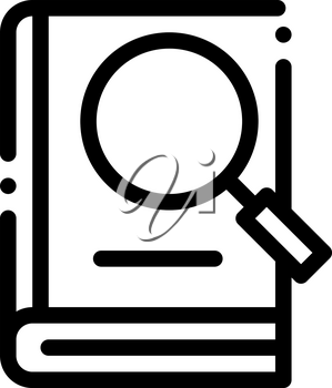 Book Search Study Icon Vector. Outline Book Search Study Sign. Isolated Contour Symbol Illustration