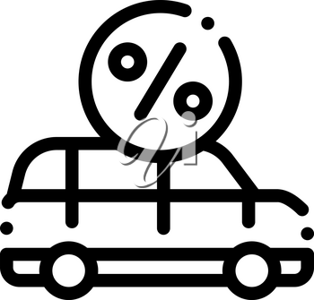 Car Credit Loan Icon Vector. Outline Car Credit Loan Sign. Isolated Contour Symbol Illustration
