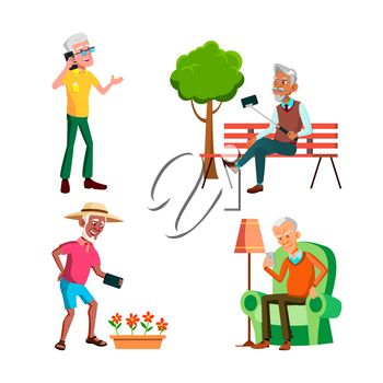 Old Men Using Phone For Communication Set Vector. Elderly Guy Talking On Cellphone And Reading Sms, Make Selfie In Park And Photographing Flowers On Phone Camera. Characters Flat Cartoon Illustrations