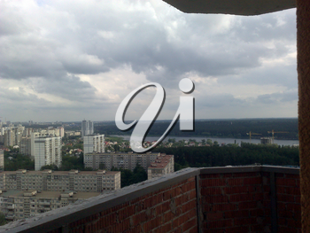 Panorama of the city of residential buildings from a height