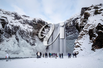 View of Skogafoss Waterfall in Winter