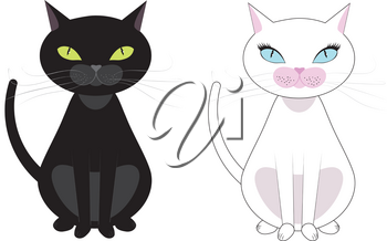 Two black and white cats, black have green eyes, white with blue eyes.