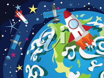 Cartoon planet Earth in open space with satellites.