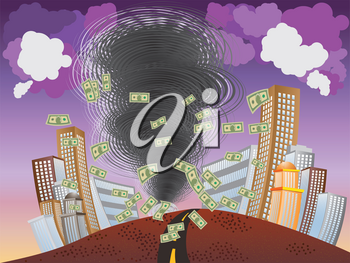 Illustration of abstract financial crisis as big tornado background.