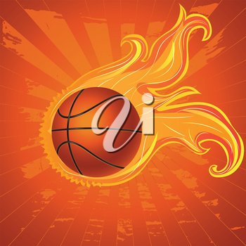 Grunge orange background with basketball ball and flame.
