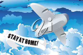 Retro airplane with stay at home banner in the sky.