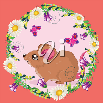 Cute cartoon brown mouse or rat with colorful flowers and leaves.