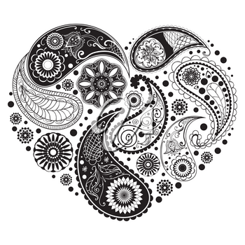 Decorative retro paisley heart pattern design illustration.