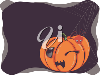 Holiday banner design with cute halloween pumpkin illustration.