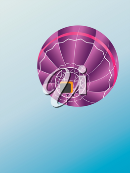 Bottom view of colorful hot air balloon on blue background.