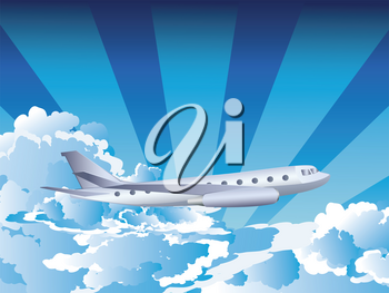 Cartoon airplane on a blue sky with clouds, travel background.