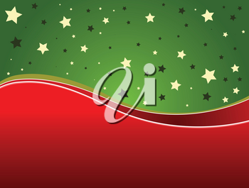 Illustration of Christmas background with green and red ribbons.