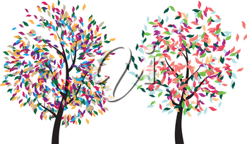Stylized colorful tree with abstract leaves illustration.