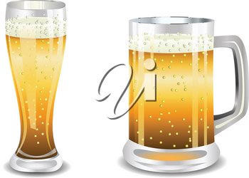 Two glasses of light beer, illustration on a white background.