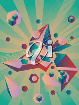 Background with different abstract geometric elements, distorted abstraction.