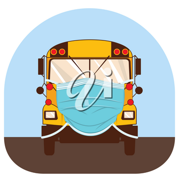 Yellow school bus in disposable surgical mask illustration.