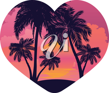 Palm trees on tropical island landscape in a heart, sunrise or sunset background.