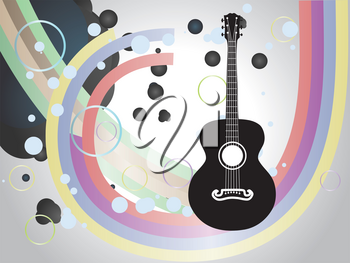 Retro acoustic guitar six strings silhouette on abstract background.