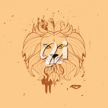 Abstract illustration of a stylized lion head with mane.