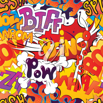 A lot of bright multi colored comic sound effects, seamless pattern