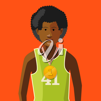 African athlete with golden medal for first place on red background, flat illustration