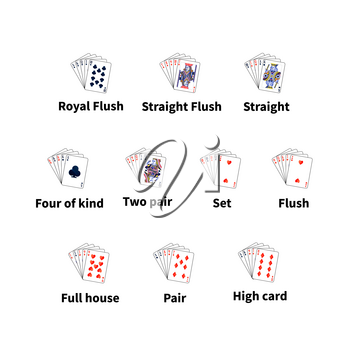 Big set of poker cards combination isolated on white