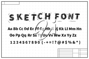 Black sketch font on blueprint layout plan with marks on white