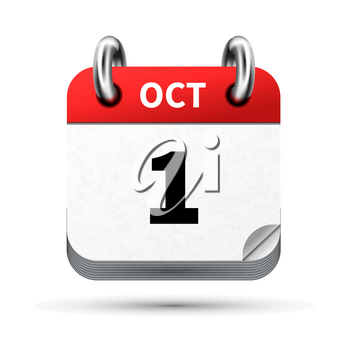 Bright realistic icon of calendar with 1st october date on white