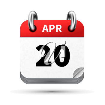 Bright realistic icon of calendar with 20 april date on white
