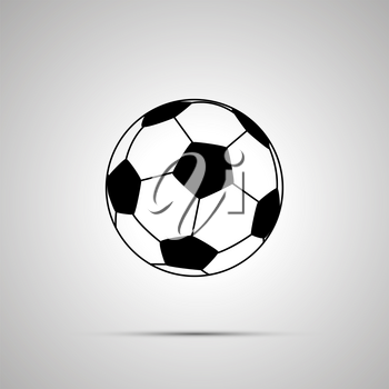 Football ball simple black icon with shadow
