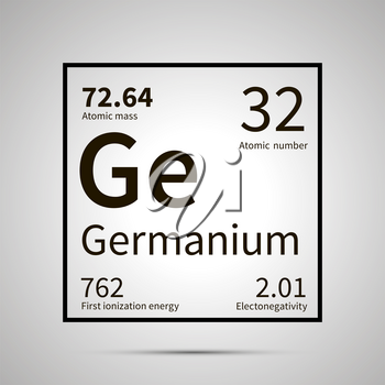 Germanium chemical element with first ionization energy, atomic mass and electronegativity values ,simple black icon with shadow on gray