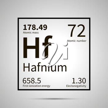 Hafnium chemical element with first ionization energy, atomic mass and electronegativity values ,simple black icon with shadow on gray