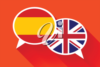 Two white speech bubbles with Spain and Great britain flags. English language conceptual illustration
