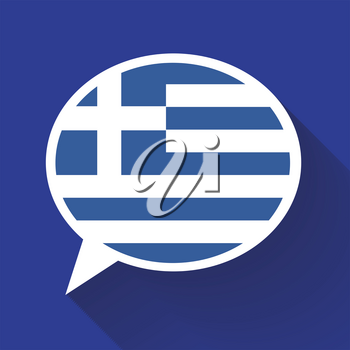 White speech bubble with Greece flag and long shadow on blue background. Greek language conceptual illustration