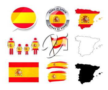 Large set of Spain infographics elements with flags, maps and badges isolated on white